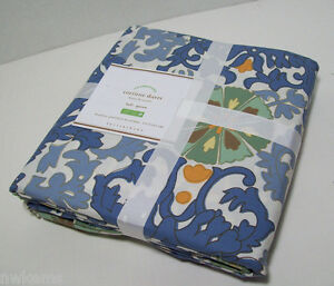 Pottery-Barn-Blue-Multi-Colors-Corinne-Cotton-Full-Queen-Duvet-Cover-2-Shams-New