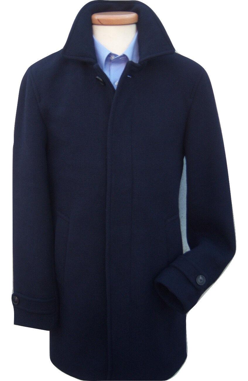 NEW CROMBY STYLE NAVY Blau CLASSIC WOOL OVERCOAT COAT 36 38 40