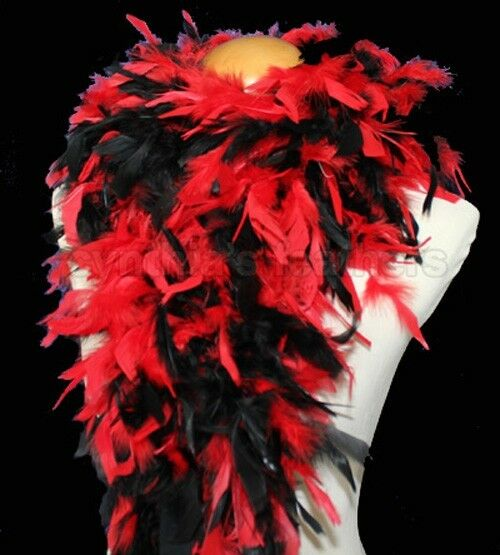 Red /Black mixture 100 Grams Chandelle Feather Boa Dance Party Halloween Costume