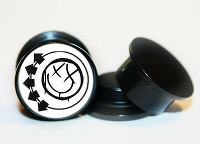 Pair of Blink-182 ear plug gauges tunnel screw on back 6mm-24mm