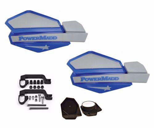 PowerMadd STAR Series Handguard Guards Mirror Mount Kit Blue Silver Yamaha ATV
