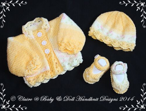 Babydoll Handknit Diseños Tejer patrón flor Filo Cardigan Set Prem 12 M