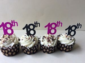 Marvelous 18Th Birthday Cupcake Toppers In Pink Or Black 12 X Cup Cake Funny Birthday Cards Online Overcheapnameinfo