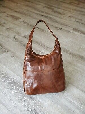 Distressed Leather Hobo Bag Rustic