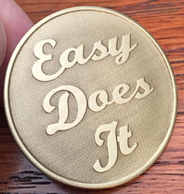 Easy Does It Serenity Prayer Bronze Recovery Medallion Coin Chip AA NA