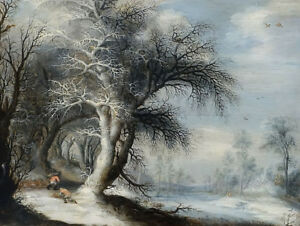 stunning-oil-painting-100-handpainted-on-canvas-034-Winter-Landscape-034