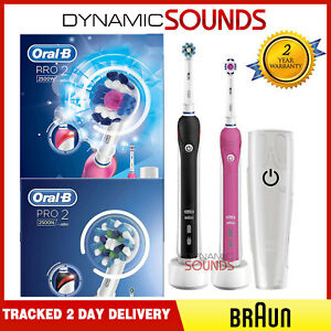 2 Oral-B PRO 2 2500 Black + Pink Electric Rechargeable Toothbrush + ... 83f7a978ab3c