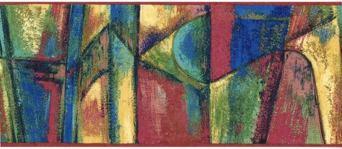Contemporary Geometric Modern Abstract Paint Brush Strokes Wallpaper Border