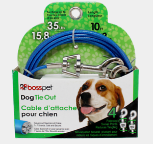 PDQ-Boss-Pet-10-039-DOG-TIE-OUT-Blue-Silver-Vinyl-Coated-Cable-MEDIUM-Dog-35lbs-NEW