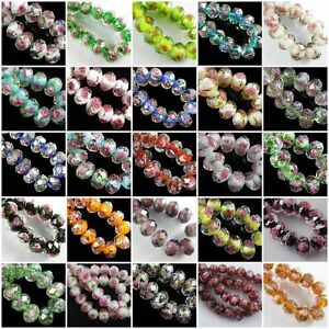 12mm-Faceted-Glass-Crystal-Rose-Flower-Inside-Lampwork-Beads-Spacer-Charms