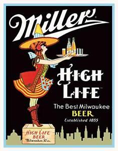 MILLER High Life Milwaukee Beer Server Ad Tin Sign