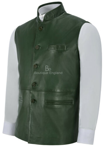 Indian Green Leather Men's Mandarin Waistcoat Collar Napa Real Ethnic 3946 Vest qfXEwZExn6