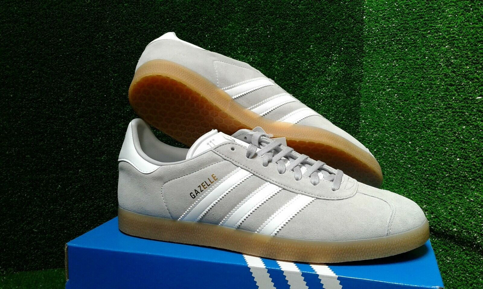 ADIDAS GAZELLE  GREY WHITE TRAINERS UK 9.5 BNIBWT. PLEASE ⬇ SEE OTHER ITEMS