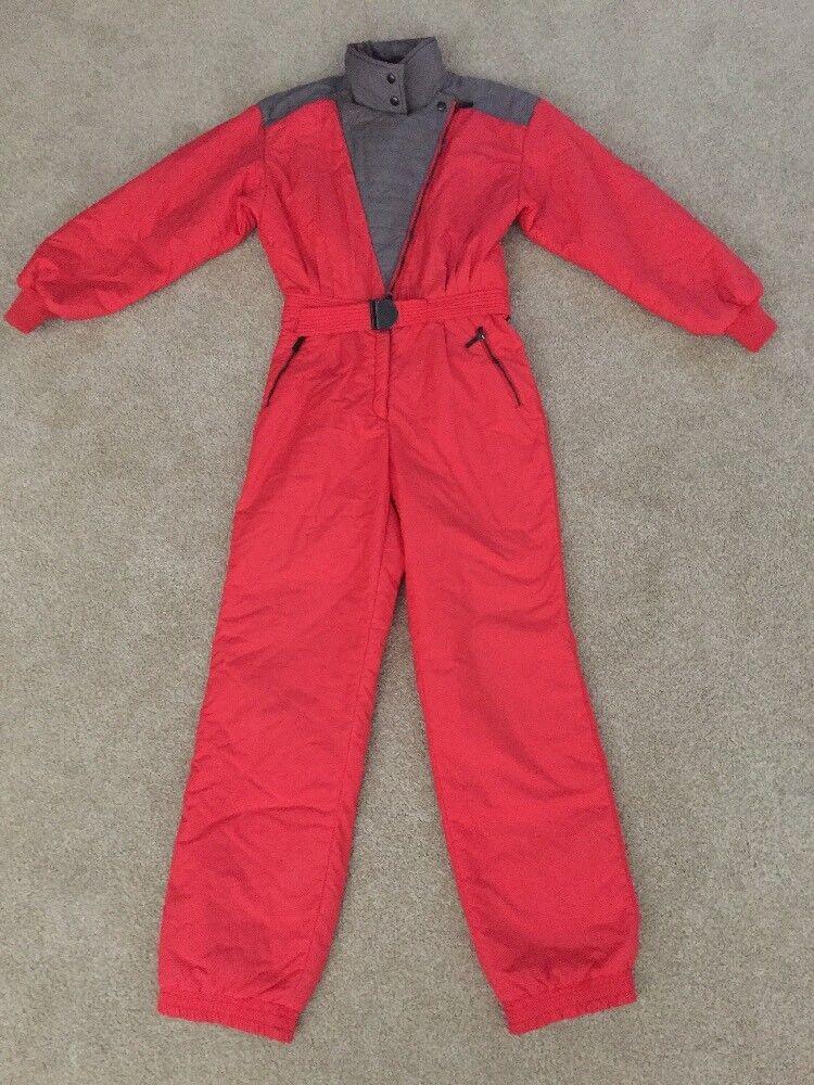 Vtg 80s KAELIN 12 Damenschuhe 1 Pcs SKI Bib Bib SKI Coat Snowsuit M ROT grau Removable Pants e79a95