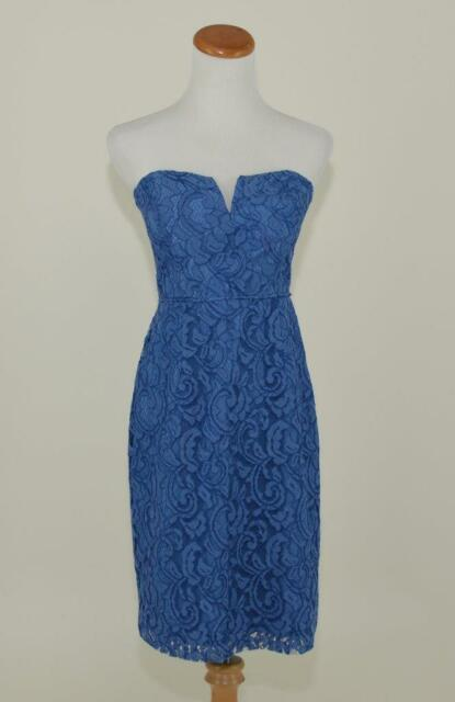 J Crew 228 Cathleen Strapless Lace Dress 8 Steely Ocean Blue Bridesmaid 02846