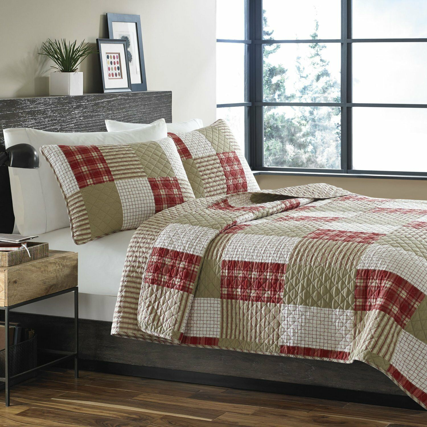 Red Cream Patch Work Twin Quilt 2pc Reversible Blanket Mattress Cover Bed Spread