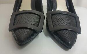 ravel-womens-black-court-shoes-size-5-38-ladies-pumps-100-leather-animal-print