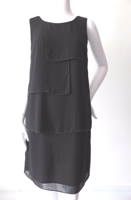 TABLE EIGHT rrp $269.00 Size 8 US 4 Black Sleeveless Tiered Beaded Tunic Dress
