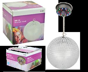 Rotatif-Paillettes-Boule-15cm-Miroir-Argent-avec-LED-Lumiere-Moteur-pour-Fetes
