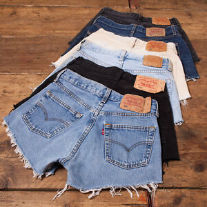 Womens-Vintage-Levis-Shorts-Denim-501-Grade-A-High-Waisted-Size-6-8-10-12-14-16