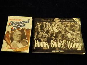 1991 DIAMOND GEMS SIGNED ERNIE HARWELL + Detroit Tiger Stadium Memories Book A78