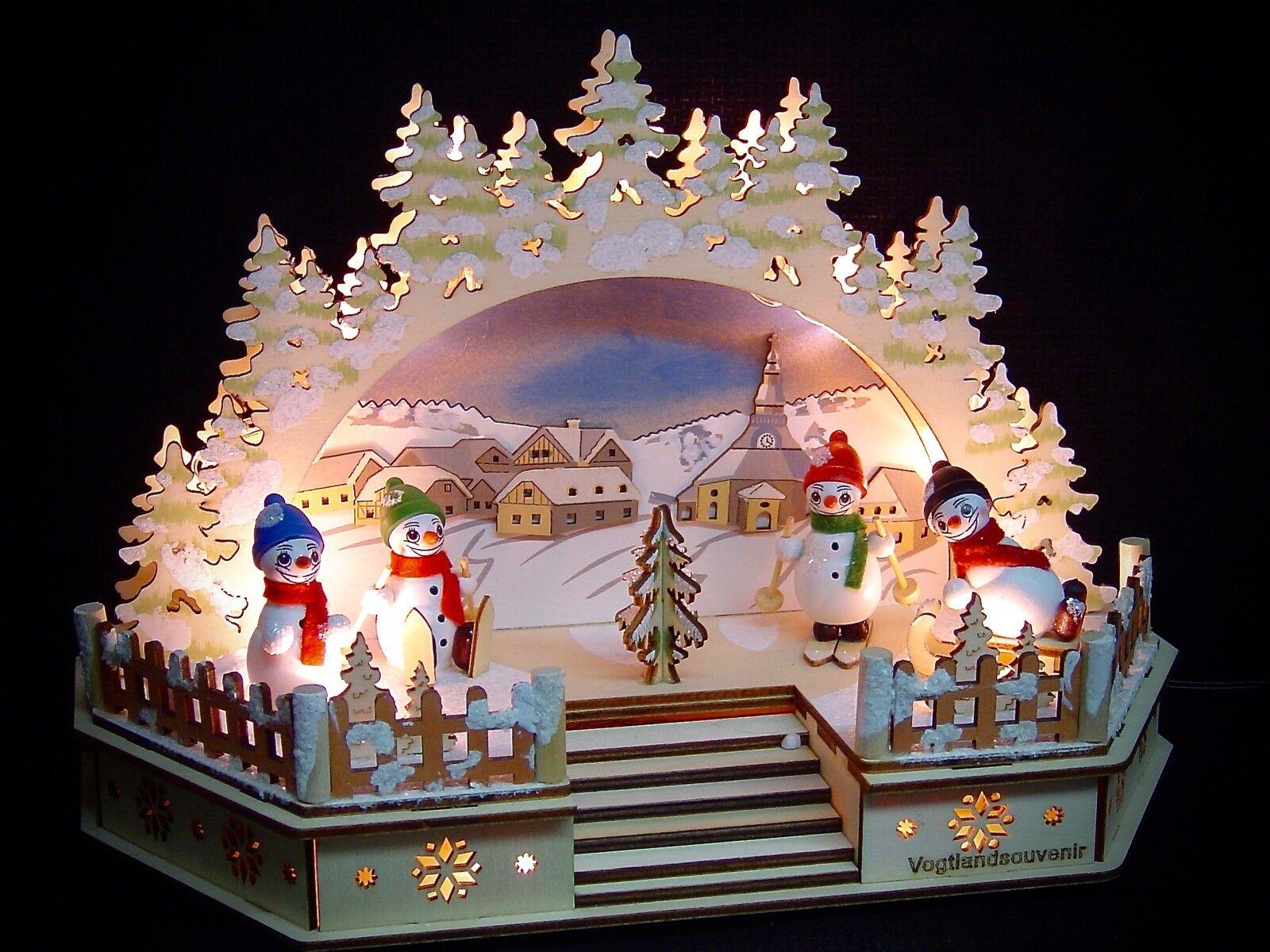 3D LED Arc à lumière à bougies église Seiffen 4 multiCouleure bonhommes au neige