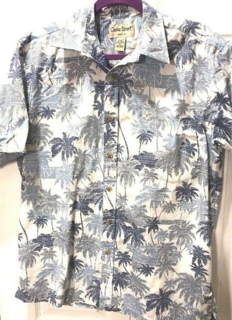 Cooke Street Aloha Hawaiian SS Shirt Cotton reverse print blue 46x29 MEDIUM