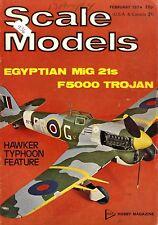 SCALE MODELS MAGAZINE 1974 FEB EGYPTIAN MIG 21S, FOKKER D VII, HAWKER TYPHOON