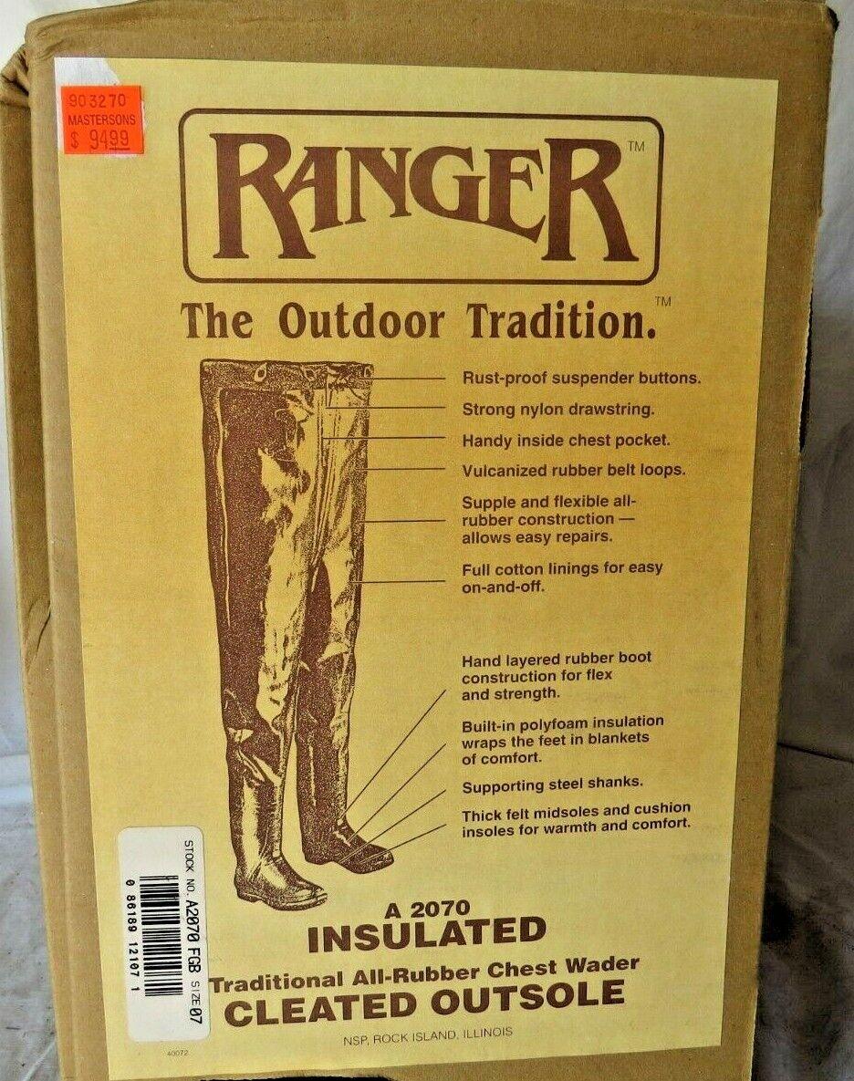 Ranger azulCAT aislado tradicional todos en el Pecho Wader de goma, talla 8, verde A2070