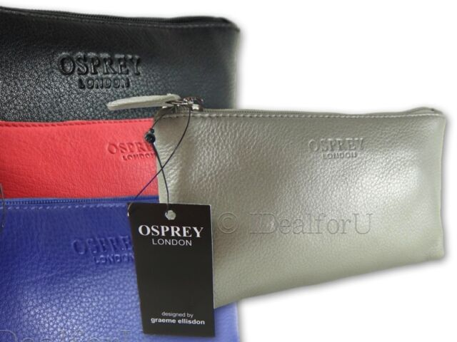 OSPREY LONDON NEW Women's Make up Purse Leather Bag Silver Blue Pink Coral Black