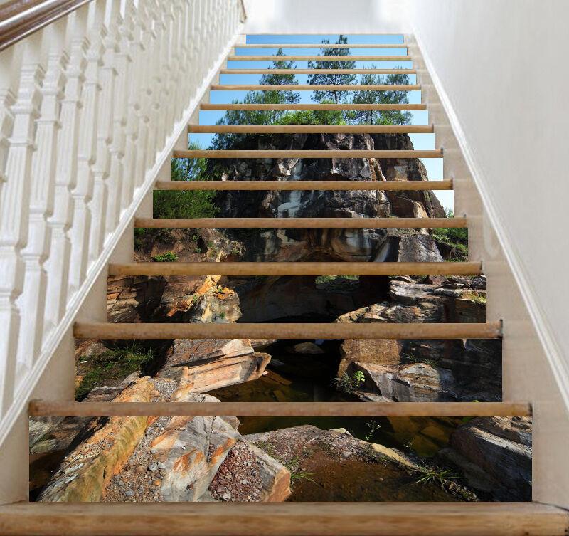3D Stein Teich 437 Stair Risers Dekoration Fototapete Vinyl Aufkleber Tapete DE