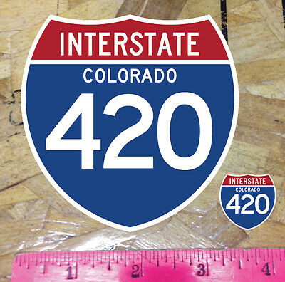 """CO Colorado Highway I-25 420 Weed Pot Sticker decal 4/"""""""