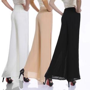 New Women's Chiffon Long Pants Flare Trousers Split Wide Leg ...