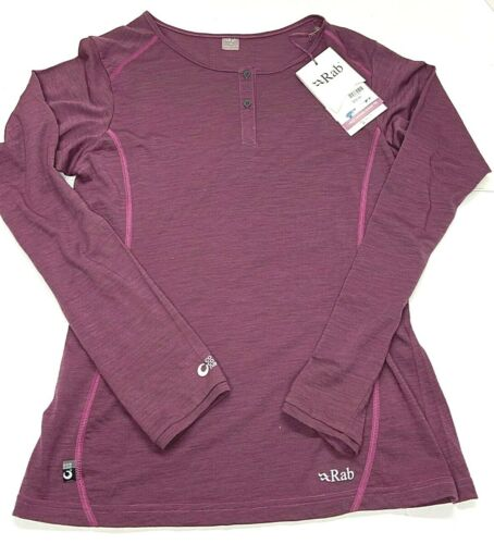 Details about  /Rab MeCo 140 Long Sleeve Tee Baselayer NWT Sz 10 or 14 Womens Henley Purple