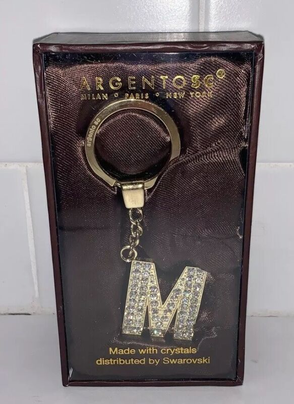 New Box Argento Sc Gold Tone Initial M Alphabet Ltr Keychain Swarovski Crystal K Fixing Prices According To Quality Of Products