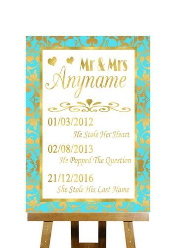 Mint Green et Gold spécial dates importantes signe de mariage personnalisé