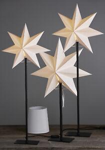 Tischlampe 2 in 1 Lampenschirm und Stern creme Lampe Stehlampe schwarz