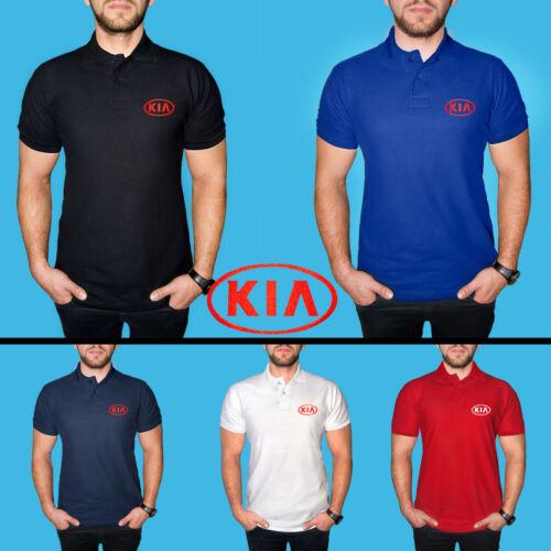KIA Polo T Shirt COTTON EMBROIDERED Auto Car Logo Tee Mens Clothing Gift Casual