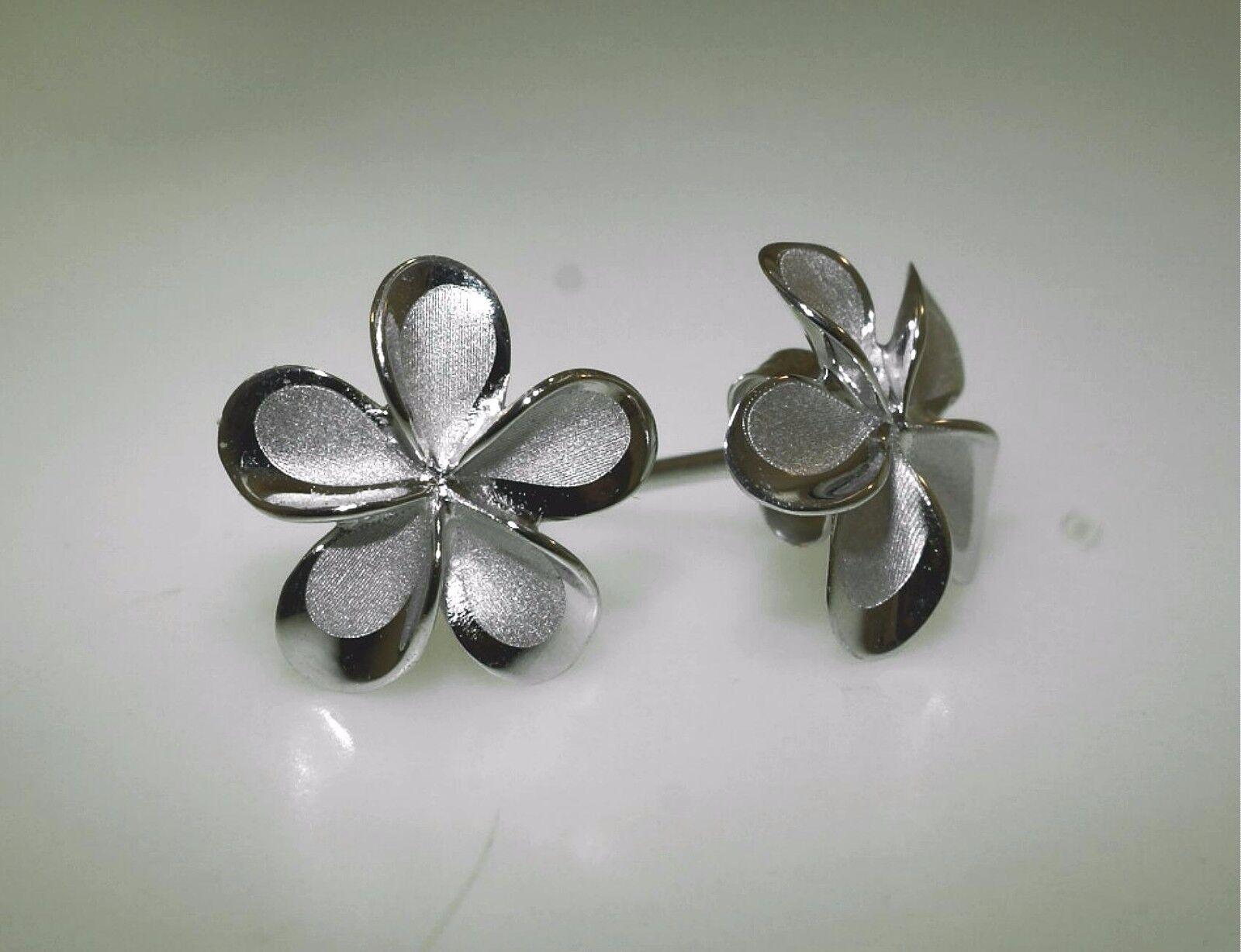 11mm Hawaiian Solid 14k White gold Brushed Satin Fancy Plumeria Stud Earrings