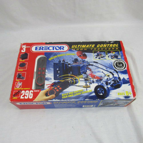 Erector Set Moon Trekkers Vintage Toy RC Motor Sound Light 296 Parts NOB