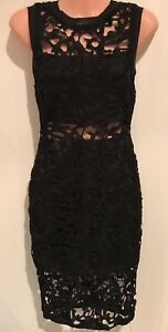 Black-Lace-Dress-Size-8-Wedding-Christening-Party-Little-Black-Dress-RRP-129