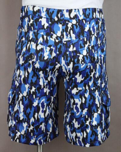 Cargo Shorts Men/'s Blue Black Camo 8 pockets Casual 100/% Cotton Ret $44 New