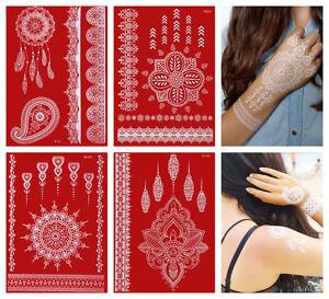 Temporary-Tattoos-weisse-Spitze-4-Boegen-weisses-Tattoo-Henna-Art-LACE-SET-2