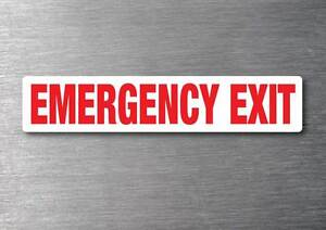 Emergency Exit Red Sticker 7 Year Water Amp Fade Vinyl Proof