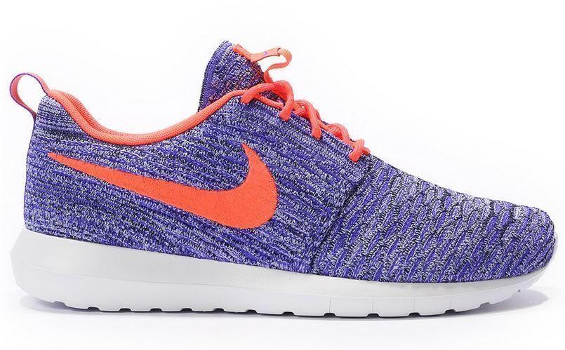 Nike Rosherun Flyknit Gr 38,5 39 persian lila hot lava Weiß 677243 500