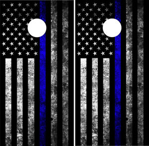 Made in USA Handmade Great for Tailgates Birthday Backyard Parties American Flag Thin Blue Line Cornhole Boards College SALE