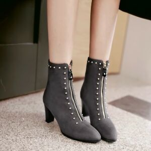 Womens-Pointy-Toe-Rivet-Suede-Leather-Ankle-Boots-Block-Heels-Ladies-Zip-Shoes11