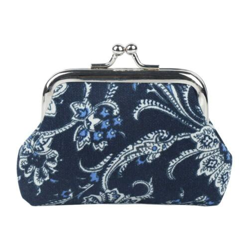 Vintage Blue And White Porcelain Hasp Coin Purses Women Clutch Bag Small Wallet