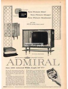 1960 ADMIRAL DEVONSHIRE TV Floor Console Model LS24M52 Vintage Print Ad