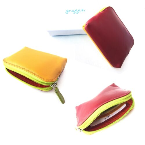 RFID Protection Small Soft Spice Leather Credit Card Holder Coin Zip Purse 7-143